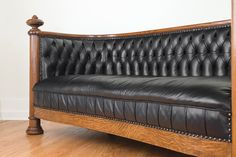 Antique Quarter Sawn Oak & Leather Chesterfield Sofa