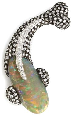An opal and diamond fish brooch, Sifen Chang