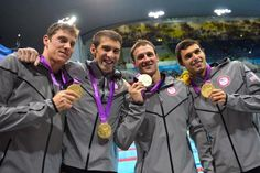The U.S. men's swimming team of Conor Dwyer, Michael Phelps, Ryan Locht, and Ricky Berens won the 4x200m freestyle relay and a gold metal for the United States on Day 4 (Tuesday, July 31, 2012.) of the 2012 London Olympics-----Michael Phelps swam into history with a lot of help from his friends,  Tuesday night, earning the 19th Olympic medal of his brilliant career, and the 15th gold.