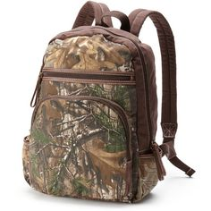 Realtree Camo Backpack (Brown) ($32) ❤ liked on Polyvore featuring bags, backpacks, brown, faux leather backpack, vegan leather backpack, brown leather backpack, daypacks and zipper backpack