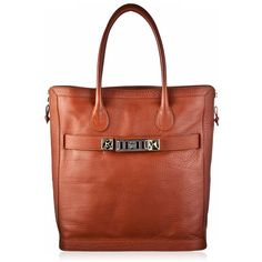 Proenza Schouler PS11 New Tote. Brown leather zip tote bag with gold/platinum signature inverted stude detail. Inner buckle closure and silver embossed Proenza…