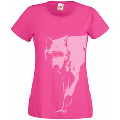 Womens Wolf Shirt Fuchsia Pink Girly Goth T Shirt for Women Animal... ($17) ❤ liked on Polyvore