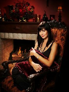 "This picture relates to todays pin, as Catherine Bell stars as ""Cassie Nightingale, in the Hallmark movie; THE GOOD WITCH, where she has just moved into the Grey house where a purported mysterious Grey lady, one of her ancestors used to live. The Good Witch's Garden, Witch Tv Shows, The Good Witch Series, Catherine Bell, Lady Grey, Hallmark Channel, Celebs, Celebrities, Pretty Woman"