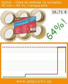 Scotch - Cinta de embalar (6 unidades, 50 mm x 66 m), transparente (Productos de oficina). Baja 64%! Precio actual 16,71 €, el precio anterior fue de 45,95 €. http://www.adquisitio.es/scotch/3m-verpackungsklebeband-0