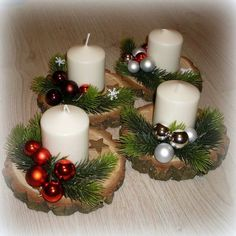 100 DIY Christmas centerpieces for tables and decorating ideas - Ethinify - . 100 DIY Christmas Centerpieces for tables and decorating ideas - Ethinify - Advent wreath colored w. Christmas Candle Decorations, Christmas Candles, Rustic Christmas, Christmas Wreaths, Christmas Ornaments, Diy Christmas, Christmas Projects, Holiday Crafts, Deco Table Noel