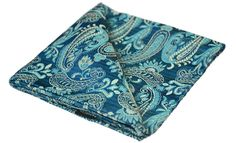 Woven Silk Pocket SquareSheer Navy On Green with Turquoise & Pale Yellow Paisley PatternReversible - Wear on the Reverse Side for a Matt LookMade From Grade A1 Mulberry Silk 100% Pure Silk • Dry Clean Only Woven and Handcrafted in England Dime...