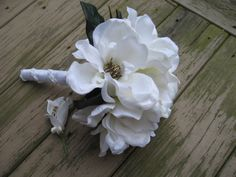 White Magnolia Wedding Bouquet by DESIGNSBYDME on Etsy