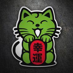 Pegatinas: Gato chino verde #coche #pegatina #sticker