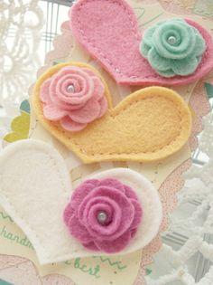 felt hearts & flowers - brooches/barrettes