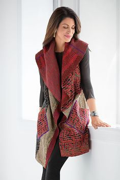 Bamboo Vest by Mieko Mintz. This fully reversible vest is an exquisite statement piece. One side is reproduced sari fabric, while the reverse is made of vintage saris that will vary greatly for a trul (Wearable Tech New York) Look Fashion, Womens Fashion, Look Boho, Cotton Vest, Sari Fabric, Refashion, Mantel, Cool Outfits, Textiles