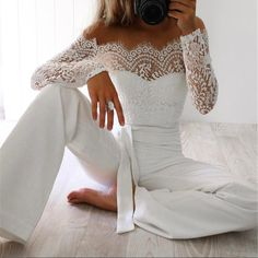 Lydia Lace Off-the-Shoulder Jumpsuit