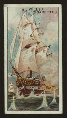HMS Captain - On 7 September 1870, the Captain capsized and sank in high winds on the Atlantic Ocean. An estimated 480 sailors perished and 18 survived.
