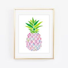 Lilly Pulitzer Inspired First Impression Pineapple Wall Frame Printable Pineapple Room Decor, Lilly Pulitzer Prints, Different Patterns, Frames On Wall, Fine Art Paper, Pink And Green, Handmade, Crafts, Etsy