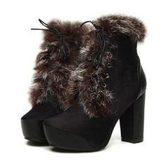 Fashion Style Fur Embellished Zipper Side Bandage High Heel Boots
