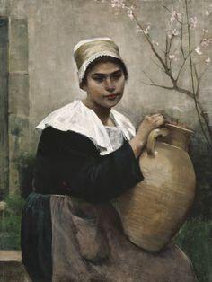 AMELIE LUNDAHL  Breton Girl Holding a Jar
