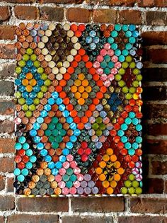 beautiful bottle cap diy hand painted rhombus art - wall decoration, cap crafts