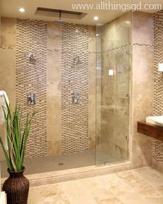 Stunning Tile Work In This Double Shower Master Bath Remodel Bathroom