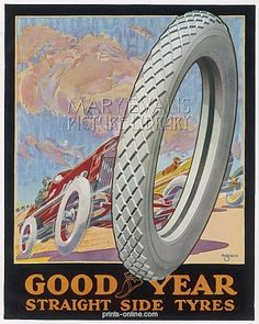 ADVERT/GOODYEAR TYRES from Prints-online: Beautiful posters, prints and merchandise with a historical theme., Adverts and Posters c/o Media Storehouse: Wall Art, Prints and Photo Gifts