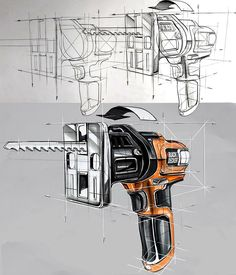 Product design sketch , technique and marker rendering ; Object, Black&Decker cordless compact saw.  You need to pay attention to the proportioans and the angles at the beginning of drawing, in the nextt step u have to pay attention to the light values and the ppencils u use.. #blackdecker #product