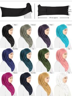 8e45344c MyBatua Jersey Viscose Multi Color Hijab, 11 Solid Colors, Islamic Wear,  Muslim Headgear, Ready To Wear Head Band, Modest Clothing HJ-019