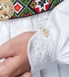 Hand embroidered cuff with authentic traditional cuff link, Folk Fashion, Ethnic Fashion, Folk Costume, Costumes, Hardanger Embroidery, Bridal Crown, Big Love, Traditional Outfits, Handicraft
