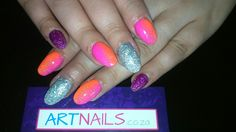 Neon pink and orange with silver and purple glitter acrylic nails i did Glitter Acrylics, Glitter Nail Art, Purple Glitter, Acrylic Nail Art, Neon, Orange, Silver, Pink, Rose