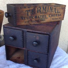 My Antique Cheese Box Cabinet Wooden Crate Boxes, Wood Crates, Wood Boxes, Primitive Kitchen, Primitive Decor, Rustic Decor, Vintage Crates, Vintage Wood, Industrial Furniture