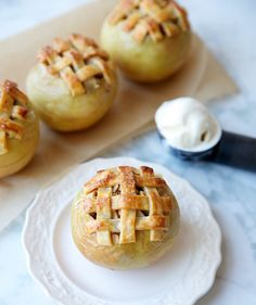 This dessert offers all the flavors and aroma of a warm apple pie, pre-portioned into single-serve treats. Each apple is filled with homemade pie filling and topped with a swirl of pecan-oat crumble. The combination is so good it will have you licking the spoon.