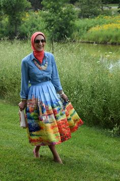 A Day In The Lalz: Scenic Midi Skirt, Fashion, Modesty, Style, Hijab, Hijabi Fashion, Shop, The Limited, Bauble Bar, Haute Hijab, Nine West, Summer, Skirt, Style, Lalz