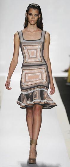 Herve Leger: I love the femininity of this dress: a little swing in the skirt, fun patterns, artsy color-ways.  Add a straw hat and the Almafi Coast and viola, a perfect vaca look!