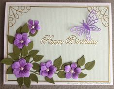 Elizabeth Craft Designs Dies - 728 Bunch of Flowers, 713 Sm Butterfly, 730 Curvy Leaves.  Peel-offs by Elizabeth Craft Designs - 328G Happy Birthday, 842G Straight Borders, 1226 Corners.  Card by Donna Heckenlaible