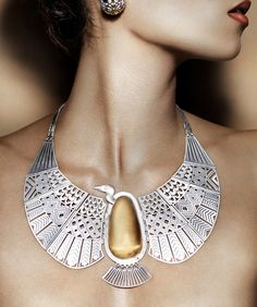 "Necklace | Azzah Fahmy. ""Vulture Collar ~ Pharaonic Collection"". Sterling silver with 18k gold."