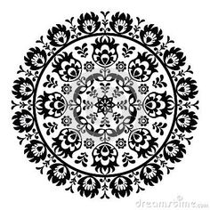 Polish folk art pattern in circle - wzory lowickie, wycinanki by Agnieszka Murphy, via Dreamstime