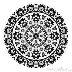 Polish folk art pattern in circle - wzory lowickie, wycinanki by Agnieszka Murphy, via Dreamstime