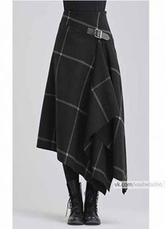 Modern take on a kilt in black with white windowpane pattern - Designer Dresses Couture Mode Outfits, Skirt Outfits, Dress Skirt, Fashion Outfits, Womens Fashion, Fashion Trends, Kilt Skirt, Tartan Fashion, Trendy Fashion