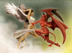 Angel woman vs Devil Woman by ~heckthor on deviantART