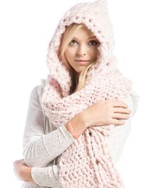 Crochet Beanie Hat with Leaves - Craft & Patterns Hooded Scarf Pattern, Crochet Hooded Scarf, Crochet Hoodie, Crochet Beanie, Crochet Scarves, Crochet Shawl, Crochet Clothes, How To Crochet A Scarf, Crocheted Scarves Free Patterns