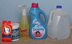 Diy carpet cleaning solution- 1/4c all purpose cleaner, 2 tbsp laundry detergent, 1 scoop oxiclean, and 1 tsp fabric softener. Dissolve in a gallon of water.  This solution works great! I just tried it on 8 year old carpets with pets in the house! Carpets are brightened and look like new.