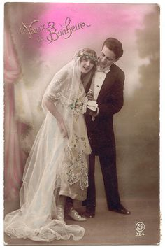 Wedding postcard, lat 1910s.