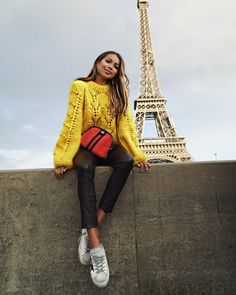 "JULIE SARIÑANA (@sincerelyjules) on Instagram: ""Paris- you will always have a special place in my heart! ❤️ • Thank you @revolve for another amazing trip together! Stay tuned for full Paris blogpost✨ wearing Ganni sweater via @fwrd • ⚡️"""