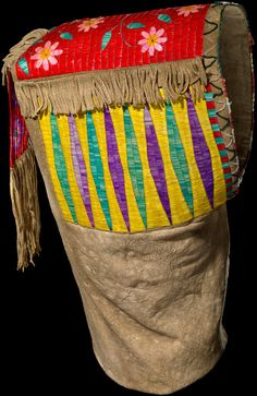 Sahnish (Arikara) baby carrier  ca. 1880  North Dakota  Deer hide, porcupine quill, glass beads, sinew