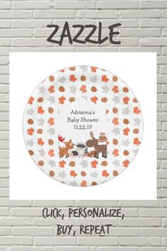 Shop Woodland Animal Baby Shower / birthday party Paper Plate created by lemontreecards. Personalize it with photos & text or purchase as is! Adult Birthday Party, Fall Birthday, Animal Birthday, Baby Shower Fall, Party Tableware, Animal Party, Woodland Animals, Baby Shower Decorations, Baby Animals