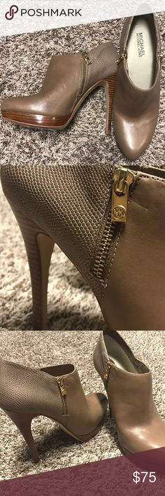 Michael Korda booties Like new. Worn a couple of times. Taupe color. Soooo pretty! MICHAEL Michael Kors Shoes Ankle Boots & Booties