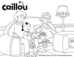 Caillou Coloring Sheet – Movie Night!
