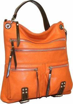Punto Uno Large Top Zip Messenger Orange - via eBags.com!