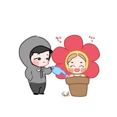 Suga and Jhope flower in a pot, fan art