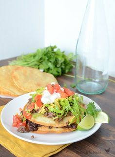 Homemade Steak Tostadas - and the steak is made in the crockpot! OH WOW!