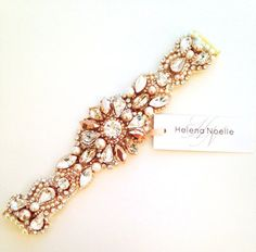 Bridal Statement Bracelet Rose Gold Crystal by HelenaNoelleCouture