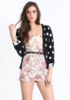 would love to wear this!  If only my body would cooperate!!!     Floral Jumper / Polka Dot Cardigan. Available here http://www.threadsence.com/haute-polka-dot-cardigan-p-4316.html