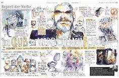 Felix Scheinberger illustriert das Berghain, Berlin, für die © B.Z. Am Sonntag